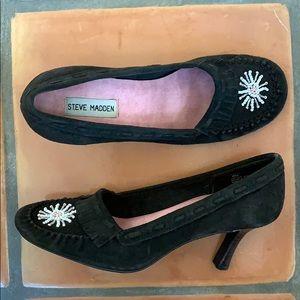 Steve Madden 'P-Mindi' Brown Suede Moccasin Heels